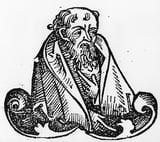 Greek philosopher and statesman Empedocles (c.490 - c.430 BC), a follower of Pythagoras and Parmenides, circa 1493. Original Artwork: From Hartmann Schedel - Liber Chronicorum Mundi, Nuremberg Chronicle