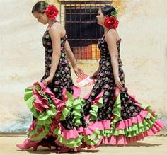 Somehow Flamenco dresses make fluorescent colours look good.