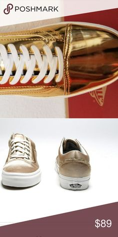 Liquid Gold Old School Vans size 9.5 women Gold rush...looks who s sporting d907e9394