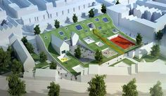 A green roof or living roof is a roof of a building that is partially or completely covered with vegetation and a growing medium, planted over a waterproofing. Kindergarten Architecture, Kindergarten Design, School Architecture, Amazing Architecture, Architecture Design, Primary School, Elementary Schools, Early Childhood Centre, Arch Building