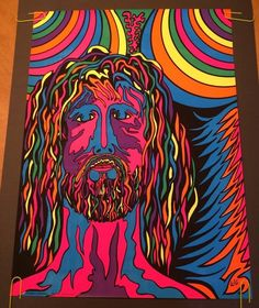 Vintage Blacklight Poster Psychedelic Jesus Hairy Hippy 1970's Pin-up Rainbow WC #Vintage