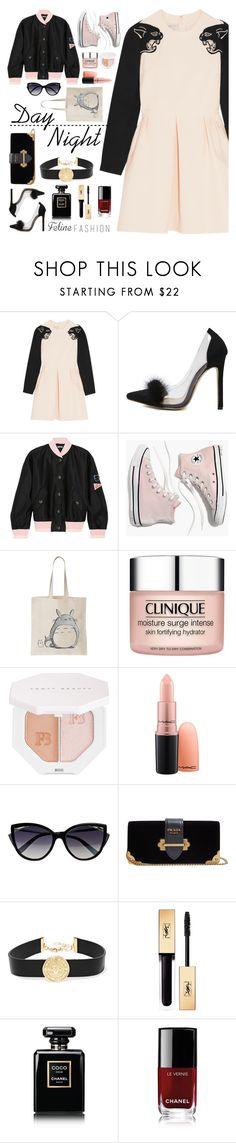"""feline fashion"" by janajane90 ❤ liked on Polyvore featuring Valentino, WithChic, Miu Miu, Madewell, Clinique, Puma, La Perla, Prada, Balmain and Chanel"