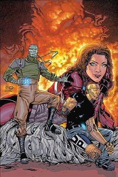 The core trinity of The Doom Patrol - Negative Man, Robotman and Elasti-Girl
