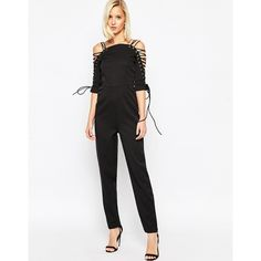 Lavish Alice Tapered Jumpsuit with Lace Up Detail ($87) ❤ liked on Polyvore featuring jumpsuits, black, lavish alice, patterned jumpsuit, tall jumpsuits, black jump suit и black mesh jumpsuit
