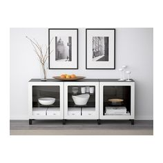 BESTÅ Storage combination with doors - black-brown/Ljusvik white - IKEA