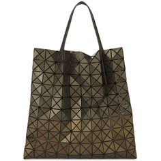 Bao Bao Issey Miyake Prism metallic tote bag (£480) ❤ liked on Polyvore featuring bags, handbags, tote bags, brown tote purse, brown handbags, zipper tote, initial tote bags and structured tote bag