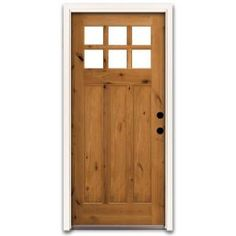 Steves & Sons Craftsman 6 Lite Stained Knotty Alder Wood Entry Door-CB3306KPJLI at The Home Depot