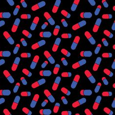 Pills on black fabric by susiprint on Spoonflower - custom fabric