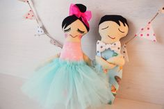 Dancers in Blue Pink ballerina Gift for little by TillyandMeshop