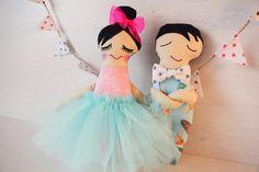 Dancers in Blue Pink ballerina Gift for little by TillyandMeshop
