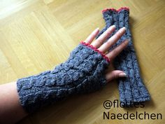 After my last gauntlets now a new pattern variant. You need this 50 g thin sock wool such. by Lana Grossa and a needles game of strength Basic pattern / cable pattern: The basic pattern consists of a total of 7 braids with 2 left-hand stitches in b Crochet Gloves Pattern, Baby Knitting Patterns, Crochet Patterns, Knitting Accessories, Crochet Hair Styles, Needles Sizes, Knitting Socks, Easy Knitting, Crochet Doilies