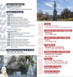 Horaires 2016 Sanctuaire de Lourdes