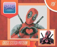 Deadpool heart cross stitch pattern pdf von AvroraCS auf Etsy