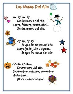 A fun way to learn the months of the year in Spanish. This mega pack of learning has: song in Spanish, song in English, 5 student activity sheets, and flash cards. *See what you are buying, full preview available. Learn Spanish and have fun!♥
