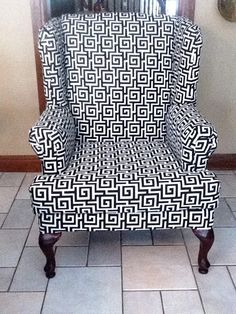 Recovered Wingback chair, Black and white fabric. Mother and Daughter project.