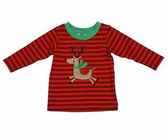 Wally & Willie Infant / Toddler Boys Red Striped Christmas Reindeer Shirt