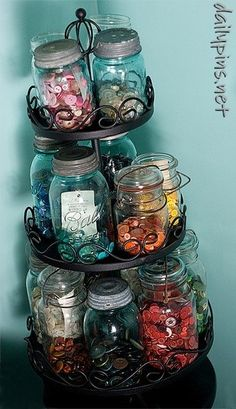 Mason jar for storing buttons and things. MUST HAVE!