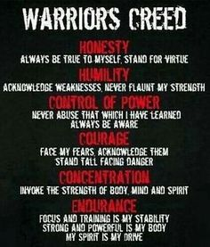warriors creed Check out all of the fitness tips, workout ideas and martial arts info www. Wisdom Quotes, Quotes To Live By, Me Quotes, Motivational Quotes, Inspirational Quotes, Qoutes, Richard Branson Zitate, Heath Ledger Zitate, Martial Arts Quotes