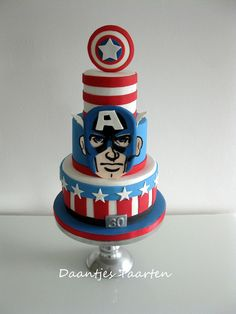 Made this cake for a man who celbrating his birthday! His friends calls him Captain America :-) that's why his wife order this cake. Here you don't see much of captain america so i did it in a cartoon version. Captain America Birthday Cake, Captain America Cake, Captin America, Fancy Cakes, Cute Cakes, Pretty Cakes, Pastel Capitan America, Anniversaire Captain America, Themed Birthday Cakes