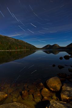 Star Trail over Jordan Pond on Full Moon Evening Mount Desert Island, Star Trails, Star Photography, Animal Pictures, Pond, Heaven, Explore, Mountains, Stars