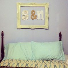 Old frame, spray paint, wooden letters, scrapbook paper, cardboard, and yarn = craft success #2 :)