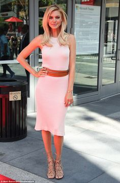 Blushing beauty! Kelly Rohrbach was a vision in pink on Saturday, appearing at the Baywatc...