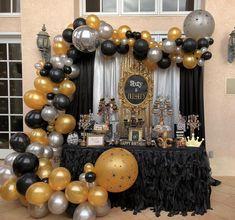 - New Deko Sites Gold Birthday Party, Gold Party, 40th Birthday, Birthday Celebration, Birthday Parties, Birthday Ideas, Happy Birthday, 60th Birthday Decorations, Graduation Decorations