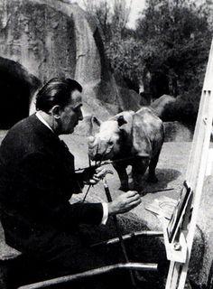 Salvador Dali with a Rhinoceros