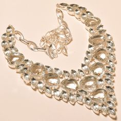 """MARVELOUS FACETED WHITE TOPAZ - 925 SILVER JEWELRY NECKLACE 18"""""""