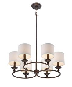 Shown in Leathered Bronze finish and White shade