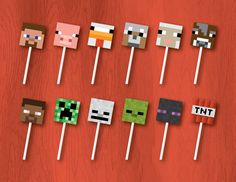 Printable MINECRAFT Cupcake Toppers  Minecraft by PressedPixels                                                                                                                                                                                 More
