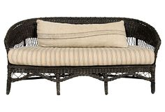 "1920s European Wicker  Sofa on OneKingsLane.com 1920s European wicker settee with French ticking seat cushion and oversized lumbar grain sack pillow, both with zippers for easy cleaning. Pillow: 45""L x 17""W. Seat, 18.5""H."