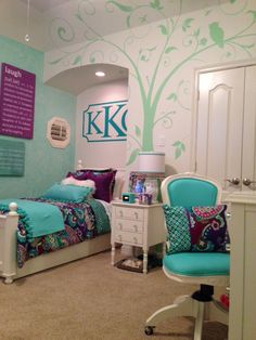 Teen girl's room makeover......A makeover  inspired by one piece of fabric. I added a beautiful wall mural, coordinating accessories and an updated monogram as a focal point.
