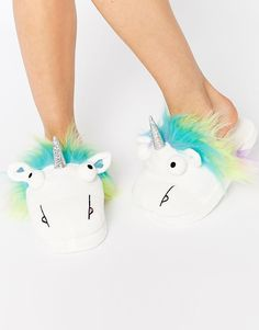 ASOS NUTTY Unicorn Slippers, $26.00. discover fashion online....