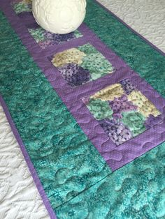 Table Runner Quilt - Lavender Purple -  Teal - Hydrangea - Floral - Spring by KeriQuilts on Etsy