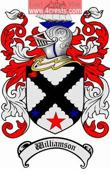 Williamson Coat of Arms / Williamson Family Crest  This name WILLIAMSON was introduced into England at the time of the Norman Conquest of 10...