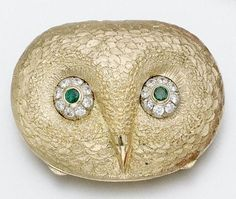 18 karat Gold, emerald and diamond 'owl' compact, Tiffany & Co., Italy - Sotheby's<3<3
