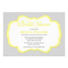 Discount DealsGray Chevron Yellow Frame Bridal Shower Invitationswe are given they also recommend where is the best to buy