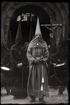 "Historically, the capirote was a cardboard cone that flagellants in Spain would use. It was also used during capital punishment in Spain, and also during an Inquisition, where the condemned person would be forced to wear one and be put under public humiliation.      From the order of Nazareth  It is also the uniform of some brotherhoods including the Nazarenos and ""Phariseos"" (see Holy Week in Seville). during Easter observances and reenactments in some areas of Spain."