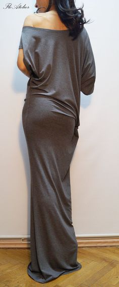 Maxi Dress/ Asymmetrical Maxi Tunic/ Gray Dress/ by FloAtelier