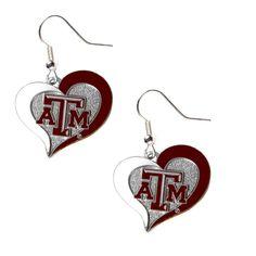 Texas A&M Aggies Women's Swirl Heart Earings