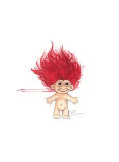 """""""Lykketroll"""" (Happy troll)  Copyright: Emmeselle.no   illustration by Mona Stenseth Larsen"""