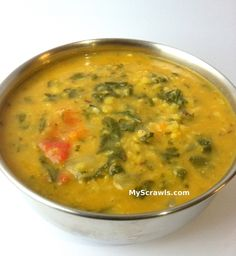 Methi Toor Dal Toor dal (thuvaram paruppu): 1/2 cup Moong dal (payatham paruppu): 1/2 cup Turmeric powder (haldi/manjal): a pinch Methi leaves: 1 bunch (approx: 1.5 cups) Salt: to taste Oil: 3-4 tsp Onion: 2 (medium sized, chopped) Tomato: 2 (chopped) To temper: Jeera (Jeeragam/cumin seeds): 1/2 tsp Hing (Perumgayam/Asafetida): a pinch Ginger: 1/2 tsp (grated/minced) Garlic: 1/2 tsp (grated/minced) Masala to be added: Dhaniya powder  1 tsp Garam masala: 1 tsp Red chilli powder: 1/2 tsp -