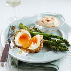 Treat friends to a little something different next time they visit soft boiled eggs rolled in Dukkah, a middle eastern spice blend, served with asparagus to dip!