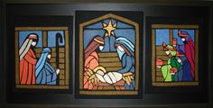 PROYECTOS PARA NAVIDAD 2 - Bordados Oma Stained Glass Quilt, Faux Stained Glass, Stained Glass Panels, Stained Glass Projects, Nativity Crafts, Christmas Nativity, Christmas Art, Handmade Christmas, Christmas Decorations