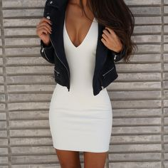 Love a White tight date night dress.