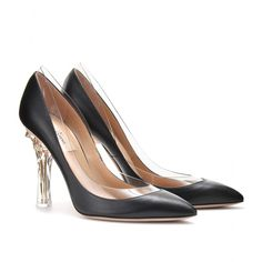mytheresa.com - Valentino - NAKED ROCKSTUD LEATHER PUMPS WITH TRANSPARENT TRIM - Luxury Fashion for Women / Designer clothing, shoes, bags
