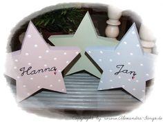 Namenskissen - Stern mit Namen versehen (Taufe Geburt etc) - ein Designerstück von Alexandra-Sangs bei DaWanda