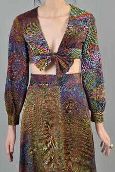 Rainbow 1970s Pointillist Galaxy Maxi Skirt + Crop Top | BUSTOWN MODERN