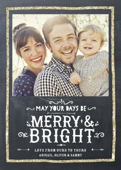 May your days be merry and bright with this gorgeous golden holiday photo card in chic gunmetal.